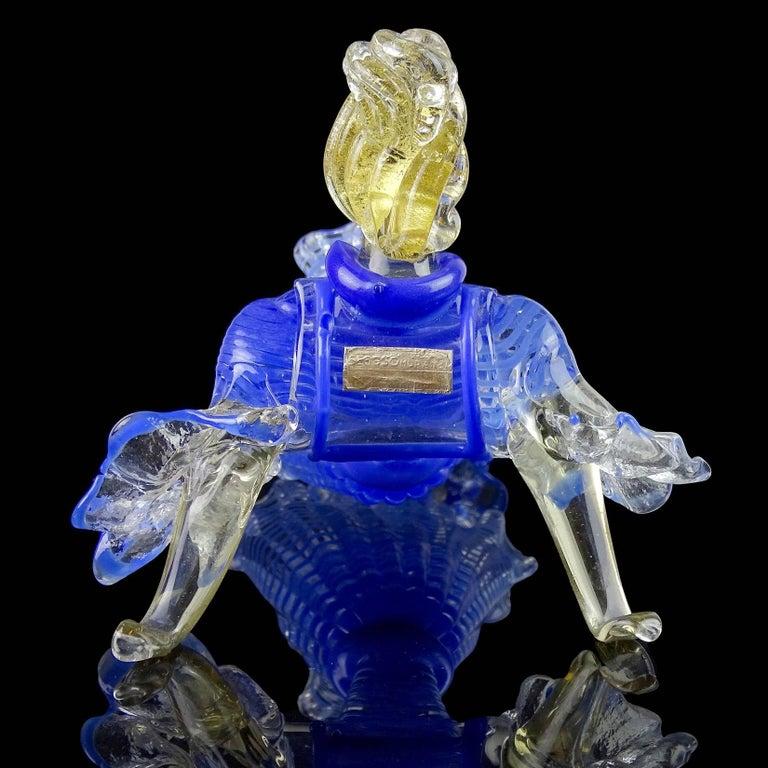 20th Century Seguso Vetri d'Arte Murano Blue Stripes Dress Italian Art Glass Ballerina Figure For Sale