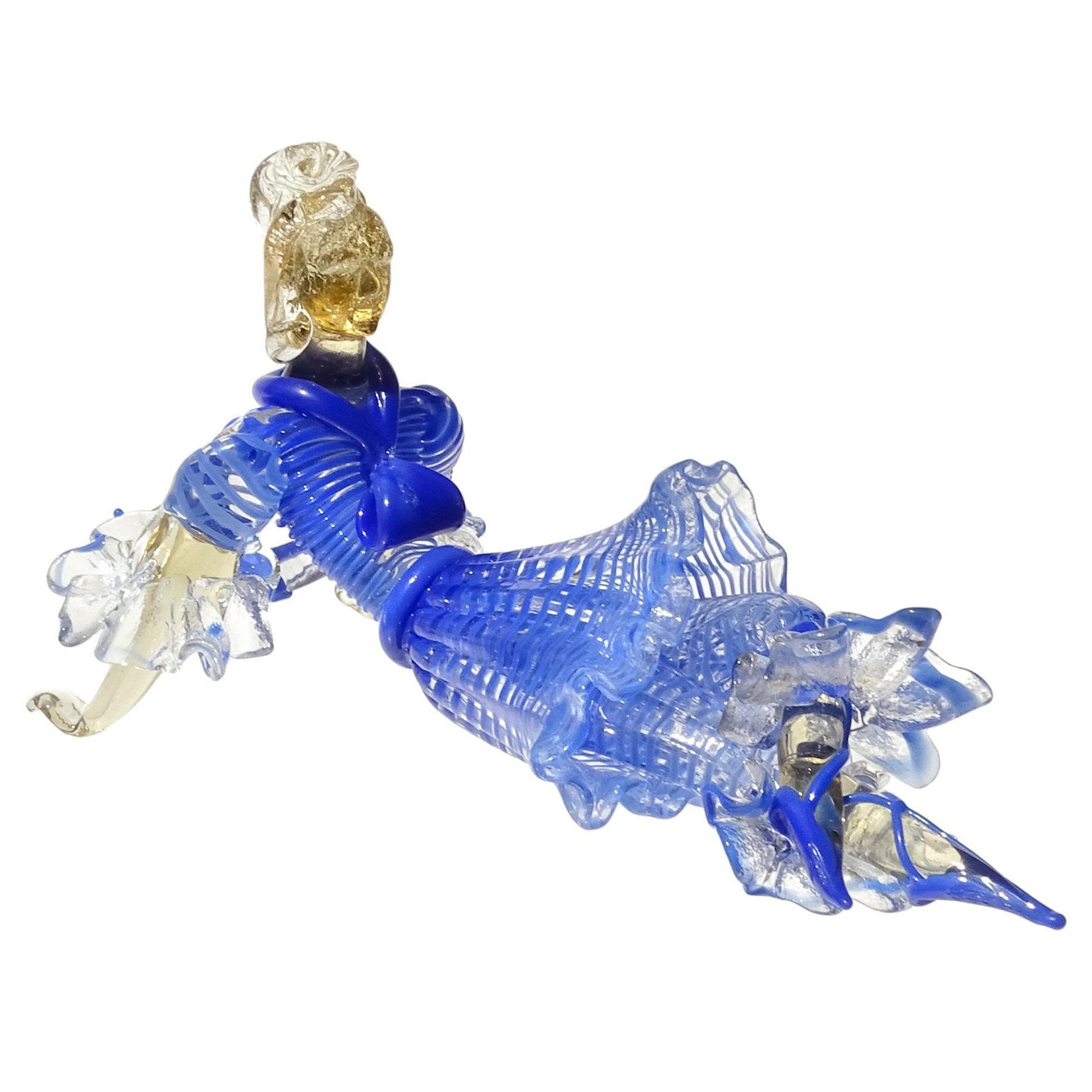 Seguso Vetri d'Arte Murano Blue Stripes Dress Italian Art Glass Ballerina Figure