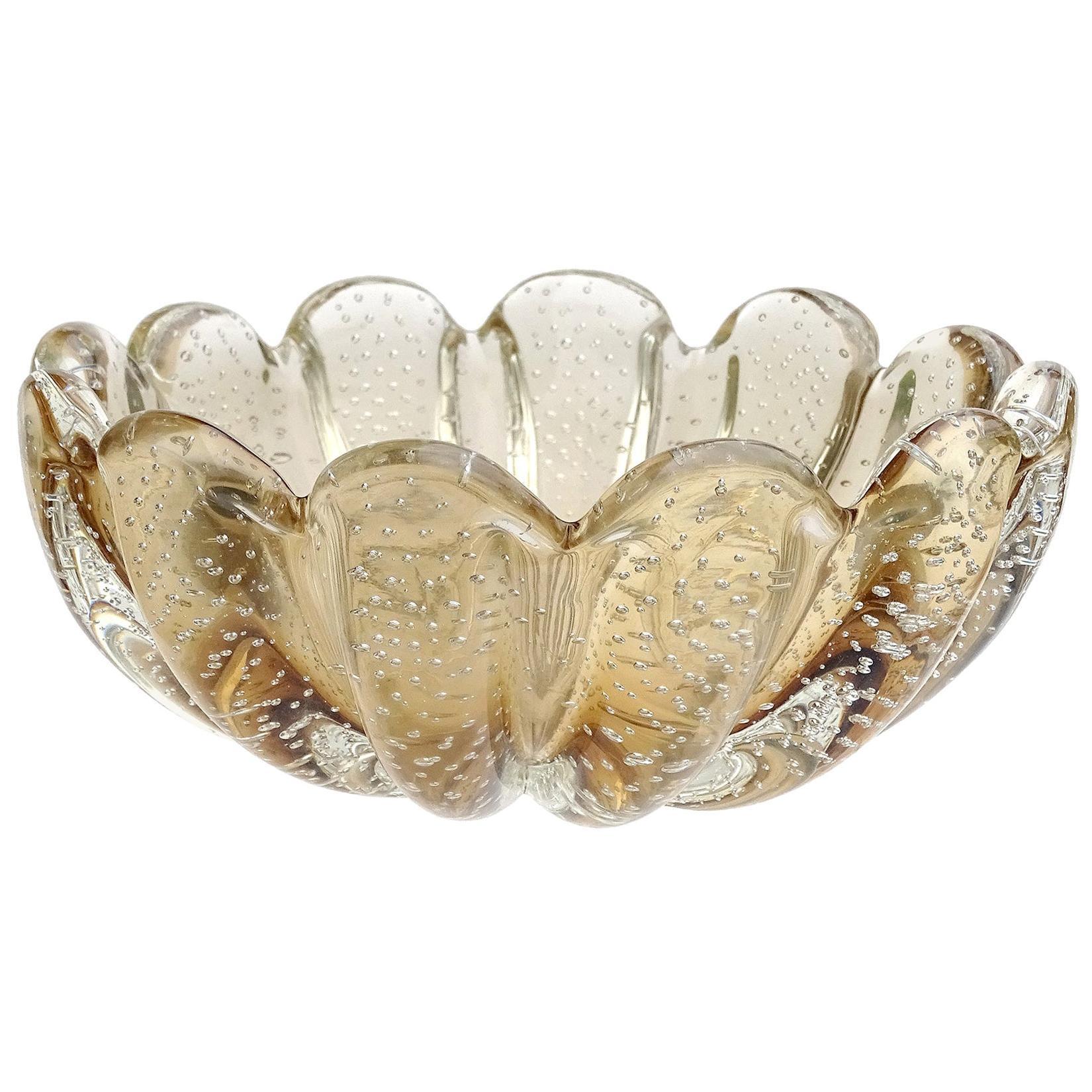Seguso Vetri d'Arte Murano Champagne Sommerso Italian Art Glass Decorative Bowl