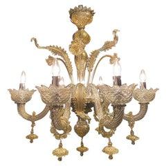Seguso Vetri d'Arte Murano Glass Albireo Venetian Gray Gold Chandelier 6 Lights