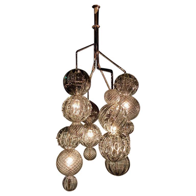 Seguso Vetri d'Arte Murano Glass Mori Grey Lantern