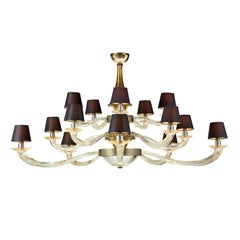 Seguso Vetri d'Arte Murano Glass Nelle Alpi Chandelier, Clear Gold and Bronze