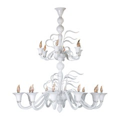 Seguso Vetri d'Arte Murano Glass Vento LED Chandelier 18 Lights