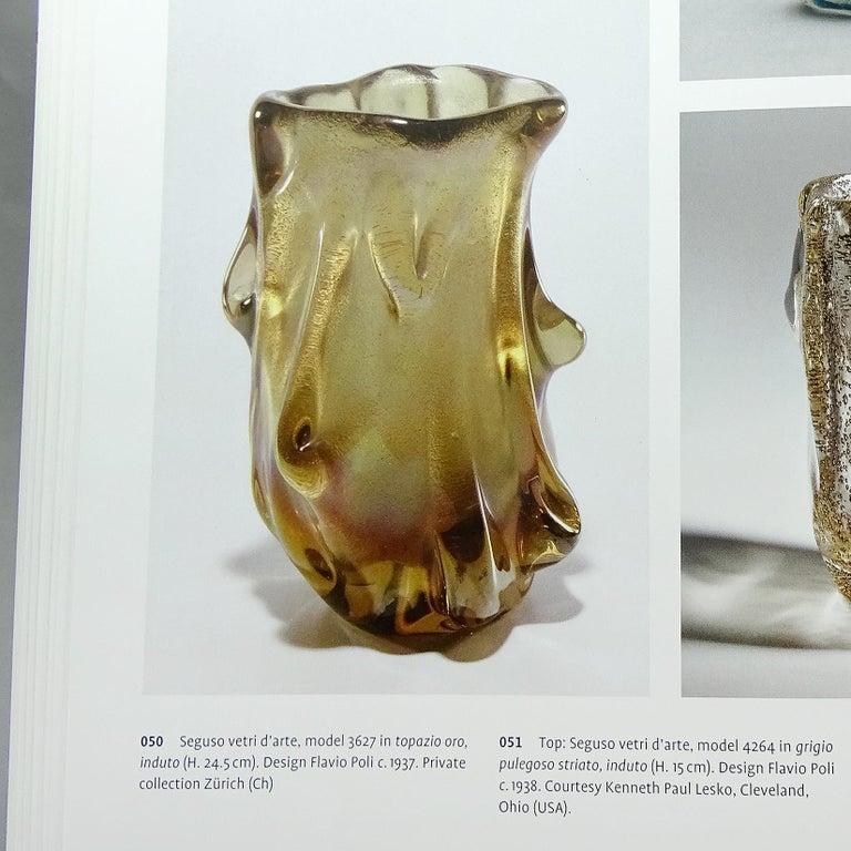 Seguso Vetri d'Arte Murano Gold Flecks Trunk Italian Art Glass Sculptural Vase For Sale 3