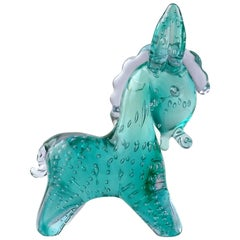 Seguso Vetri d'Arte Murano Green Bubble Italian Art Glass Donkey Sculpture