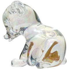 Seguso Vetri d'Arte Murano Iridescent Italian Art Glass Baby Bear Cub Sculpture