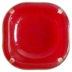 Seguso Vetri d'Arte Murano Red Gold Flecks Italian Art Glass Ashtray Bowl