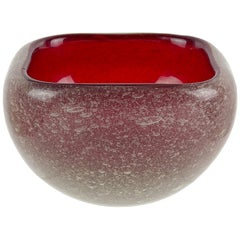 Seguso Vetri d'Arte Murano Red Pulegoso Bubbles Italian Art Deco Glass Dish Bowl