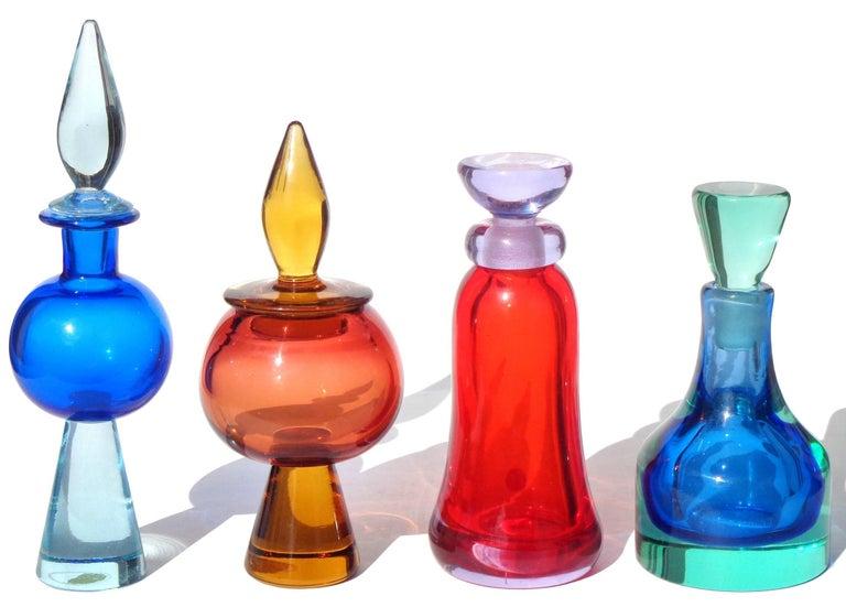 Hand-Crafted Seguso Vetri d'Arte Murano Sommerso Blue Aqua Italian Art Glass Perfume Bottle For Sale