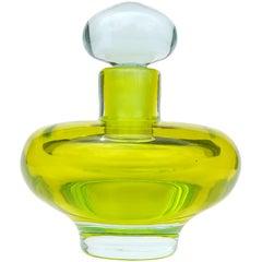Seguso Vetri d'Arte Murano Sommerso Blue Yellow Italian Art Glass Perfume Bottle