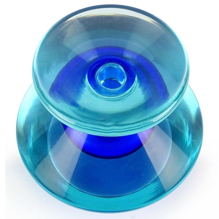 Mid-Century Modern Seguso Vetri d'Arte Murano Sommerso Cobalt Blue Italian Art Glass Perfume Bottle