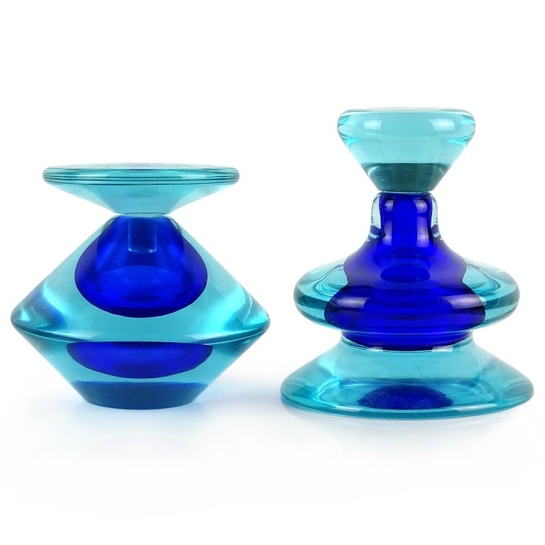 20th Century Seguso Vetri d'Arte Murano Sommerso Cobalt Blue Italian Art Glass Perfume Bottle