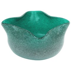 Seguso Vetri D'Arte Pulegoso Air Bubbles Green Blue Murano Art Glass Bowl