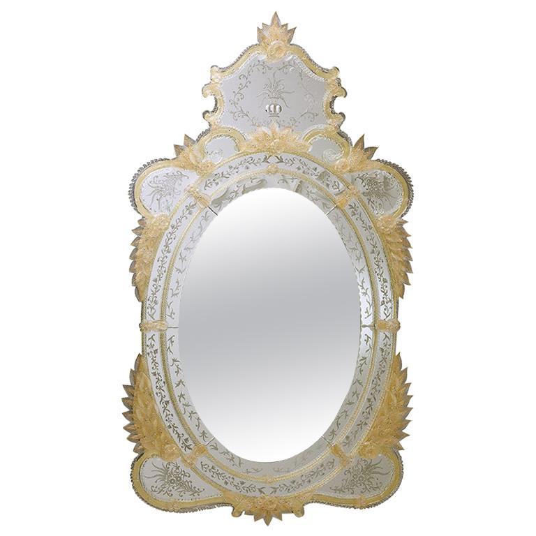 Seguso Vetri d'Arte Querini Murano Glass Venetian Mirror