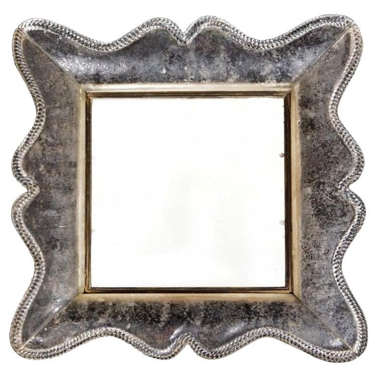 Seguso Vetri d'Arte Rare & Important Smoked Glass Mirror, Italy, 1940s For Sale