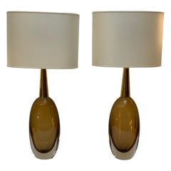 Seguso Vetri d'Arte Signed Pair of Midcentury Murano Glass Table Lamps