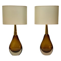 "Seguso Vetri D'Arte ""Sommerso"" Murano Glass  Pair of Table Lamps, Mid-Century"