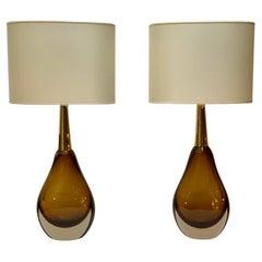 "Seguso Vetri D'Arte ""Sommerso"" Murano Glass  Pair of Table Lamps, Mid-Century"