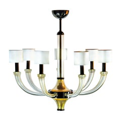 Seguso Vetri d'Arte Splendor Clear Gold Murano Glass 7-Light Chandelier