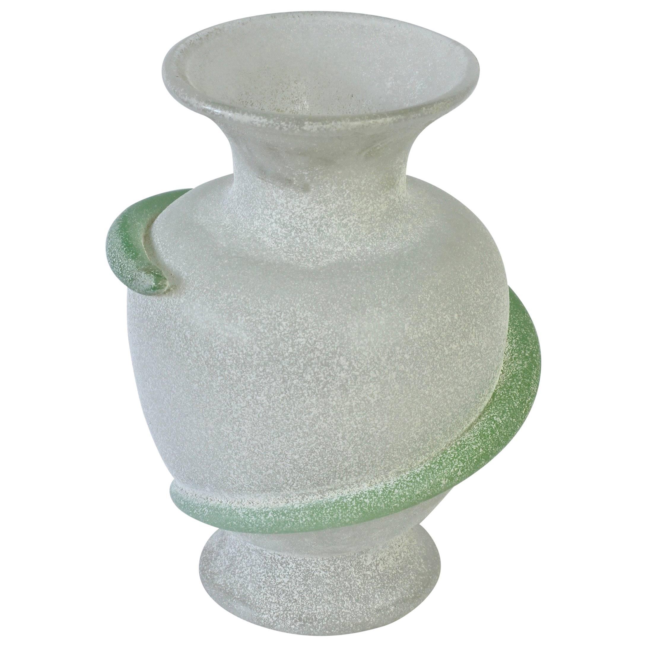 Seguso Vetri d'Arte Attributed White 'a Scavo' Murano Glass Vase