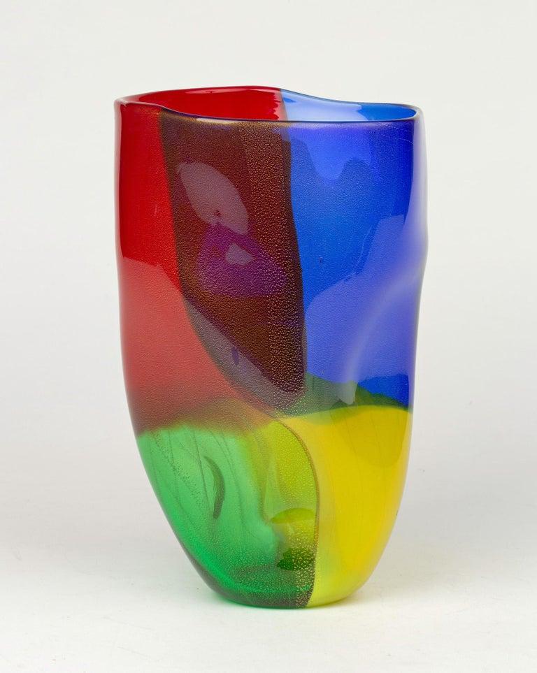 Seguso Viro Murano 4 Quarti Incalmo Colored Art Glass Vase For Sale 2