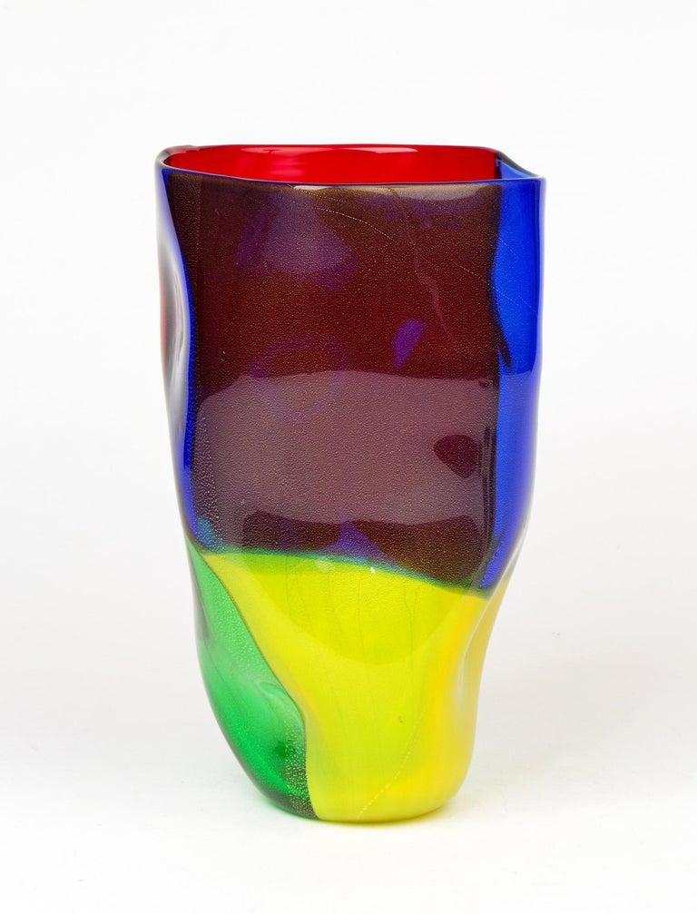 Seguso Viro Murano 4 Quarti Incalmo Colored Art Glass Vase For Sale 3