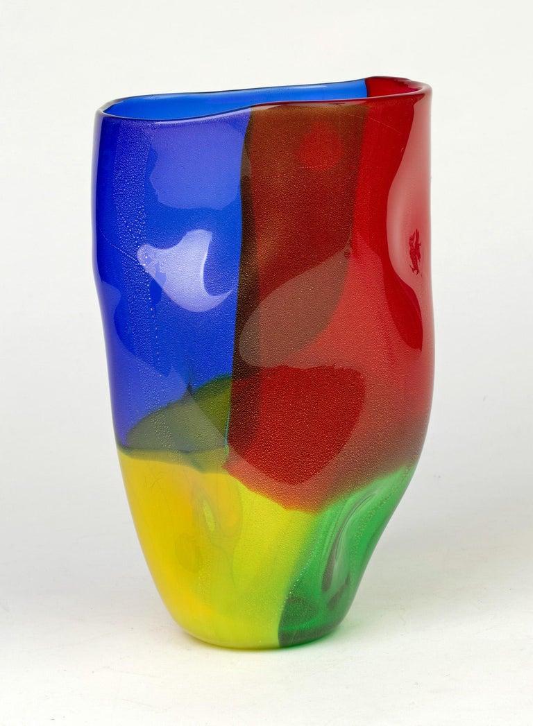 Seguso Viro Murano 4 Quarti Incalmo Colored Art Glass Vase For Sale 5