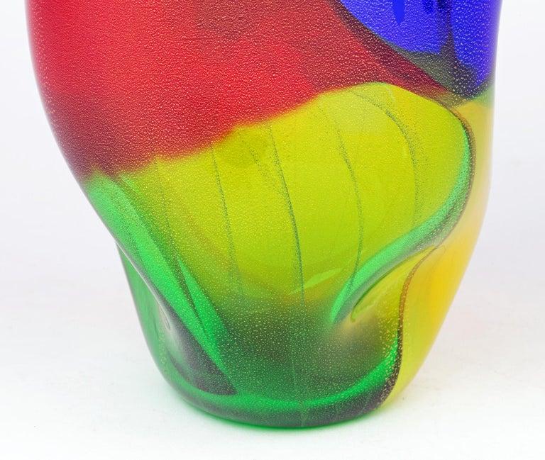 Mid-Century Modern Seguso Viro Murano 4 Quarti Incalmo Colored Art Glass Vase For Sale