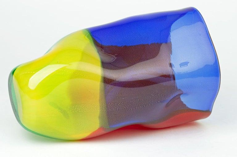 Italian Seguso Viro Murano 4 Quarti Incalmo Colored Art Glass Vase For Sale