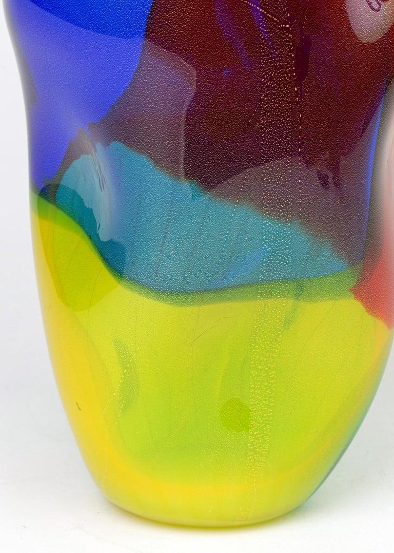 Hand-Crafted Seguso Viro Murano 4 Quarti Incalmo Colored Art Glass Vase For Sale