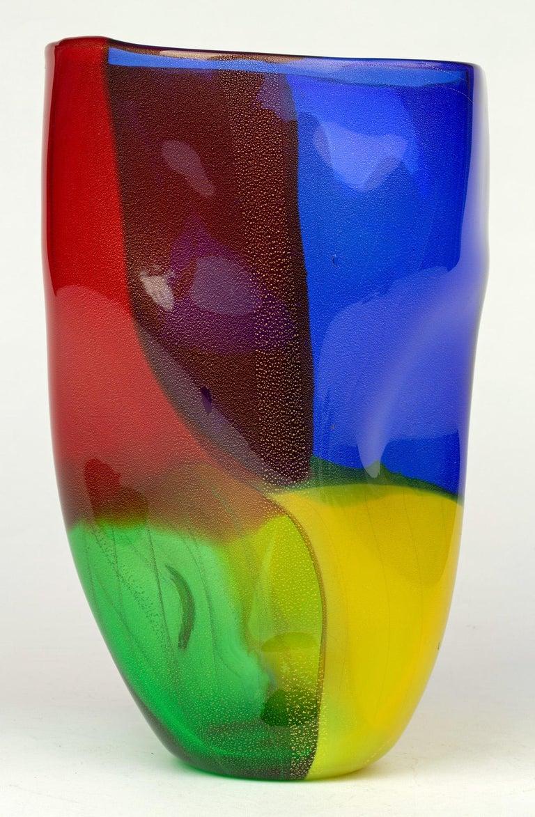 Seguso Viro Murano 4 Quarti Incalmo Colored Art Glass Vase In Good Condition For Sale In Bishop's Stortford, Hertfordshire