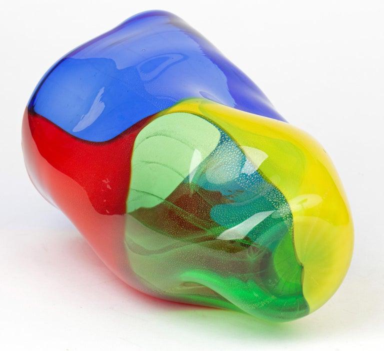 Mid-20th Century Seguso Viro Murano 4 Quarti Incalmo Colored Art Glass Vase For Sale