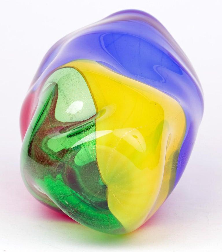 Blown Glass Seguso Viro Murano 4 Quarti Incalmo Colored Art Glass Vase For Sale