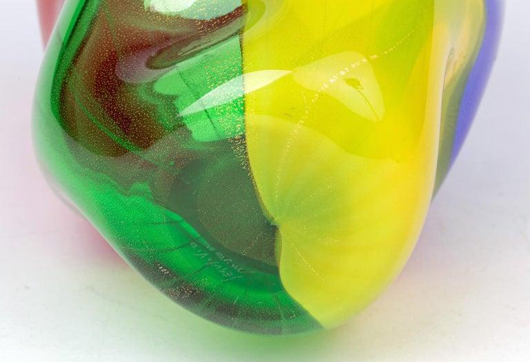 Seguso Viro Murano 4 Quarti Incalmo Colored Art Glass Vase For Sale 1