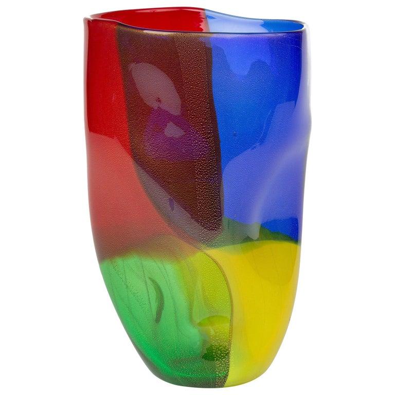 Seguso Viro Murano 4 Quarti Incalmo Colored Art Glass Vase For Sale