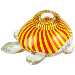 Seguso Viro Murano Yellow Orange Stripes Italian Art Glass Turtle Sculpture Vase