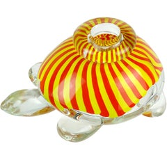 Seguso Viro Murano Yellow Orange Stripes Italian Art Glass Turtle Sculpture Vase