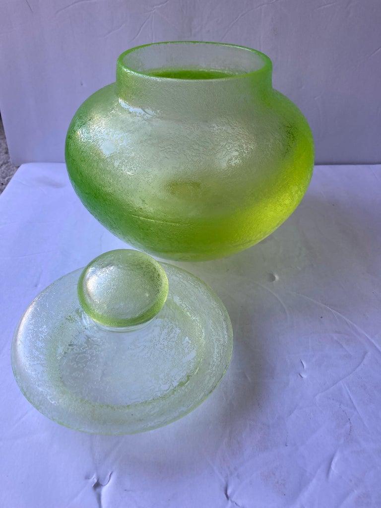 Hand-Crafted Seguso, Large Murano Glass, Corroso, Uranium Leaded Box /Jar Attb Flavio Poli For Sale