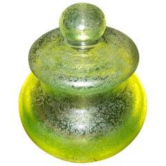 Seguso, Large Murano Glass, Corroso, Uranium Leaded Box /Jar Attb Flavio Poli
