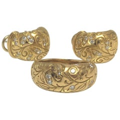 Seiden Gang 18 Karat Gold and Diamond Earring and Ring Set, Laurel Collection
