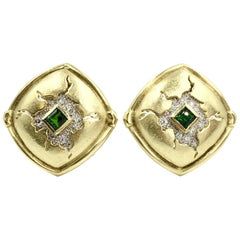 Seidengang 18 Karat and Platinum Diamond and Chrome Tourmaline Button Earrings