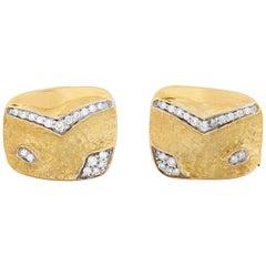 SeidenGang 18 Karat Yellow Gold Cufflinks with 0.36 Carat of Diamonds