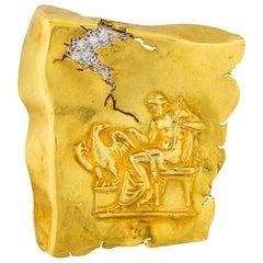 SeidenGang 18 Karat Yellow Gold Diamond Brooch Pin Greek Mythology