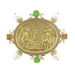 SeidenGang 18 Karat Yellow Gold Gem-Set Athens Intaglio Brooch