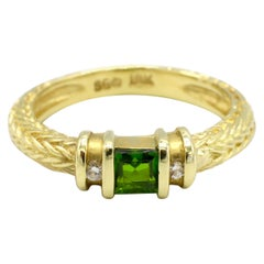 SeidenGang 18 Karat Yellow Gold Peridot and Diamond Band Ring