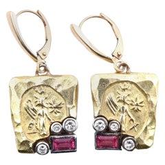 Seidengang 18K and 14K Gold Diamond and Pink Tourmaline Vintage Drop Earrings