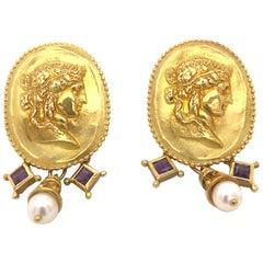 SeidenGang 18K High Relief Sculptured Classical Women Amethysts Pearls Earrings