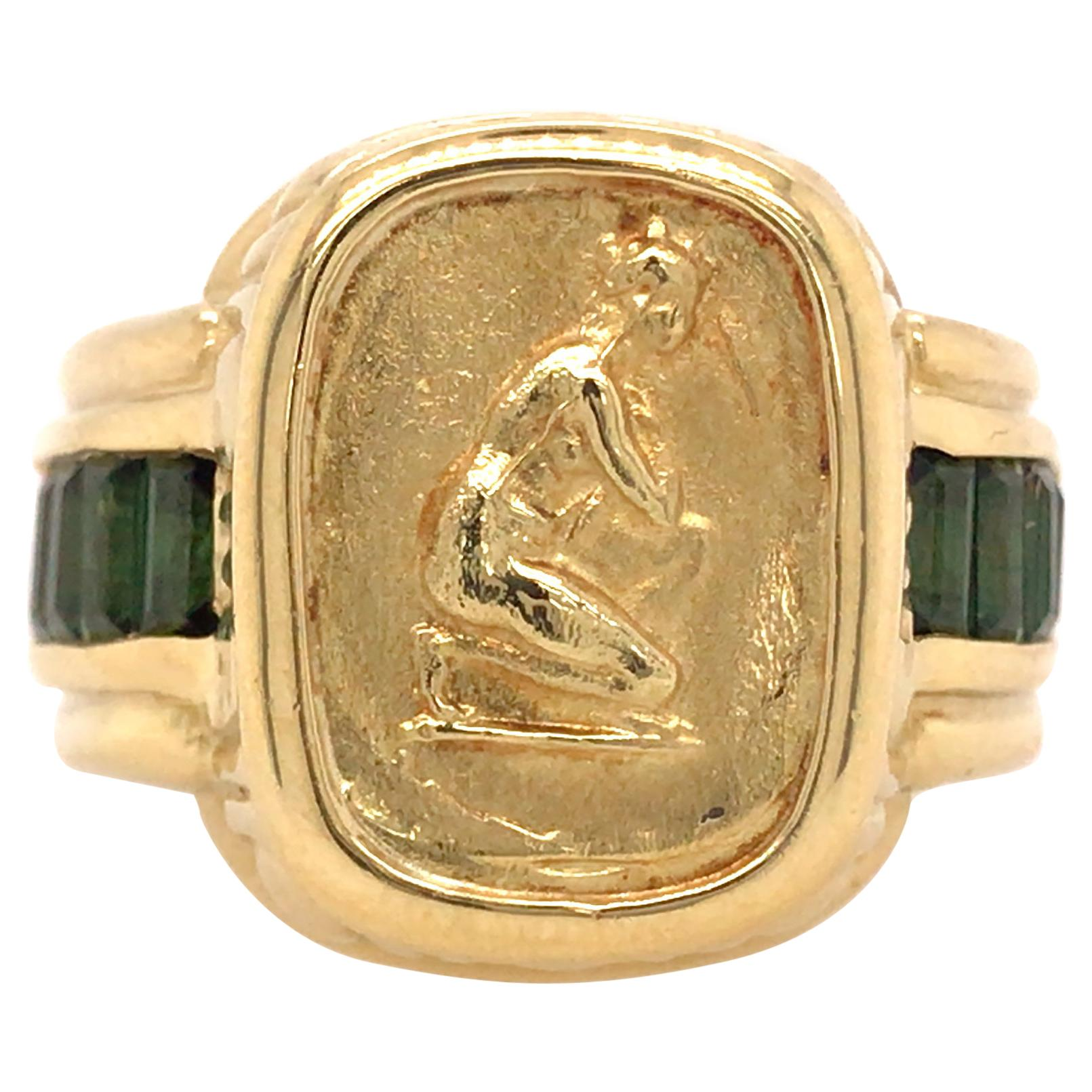 Seidengang 18K Yellow Gold Tourmaline Signet Ring