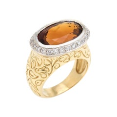 SeidenGang Citrine Diamond Ring 18k Yellow Gold East West Estate Cocktail