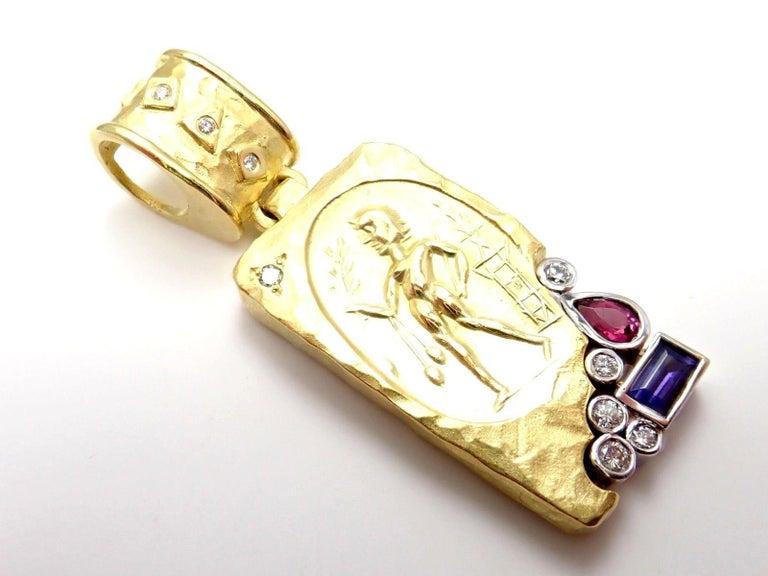 SeidenGang Diamond Iolite Pink Tourmaline Yellow Gold Pendant Enhancer 2